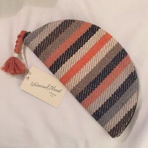 Striped 70s Style Woven Half Moon Clutch Pouch